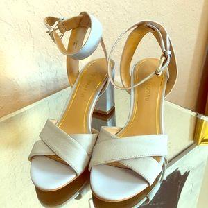 Powder puff blue strapped heels